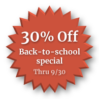 30% off back to school special through september 30th